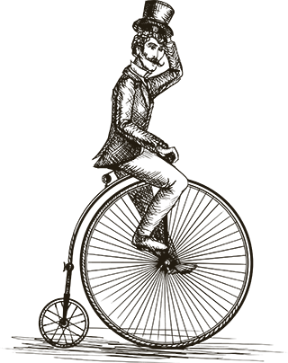 Vintage engraved illustration of man with top-hat riding bike